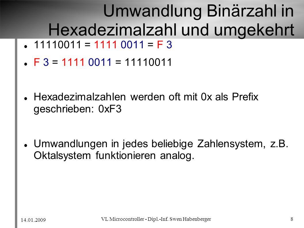 Umwandlung Binärzahl in Hexadezimalzahl und umgekehrt