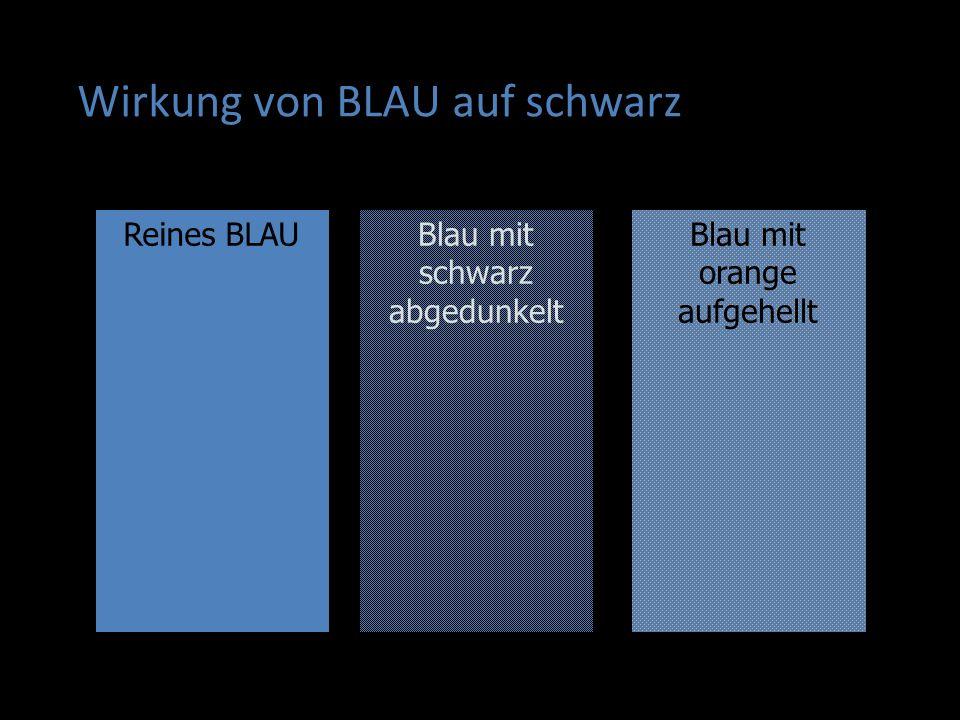 Wirkung von BLAU auf schwarz