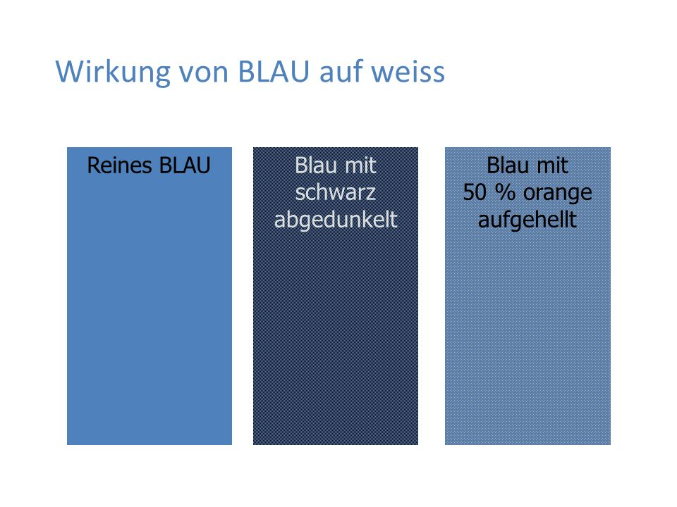 Wirkung von BLAU auf weiss