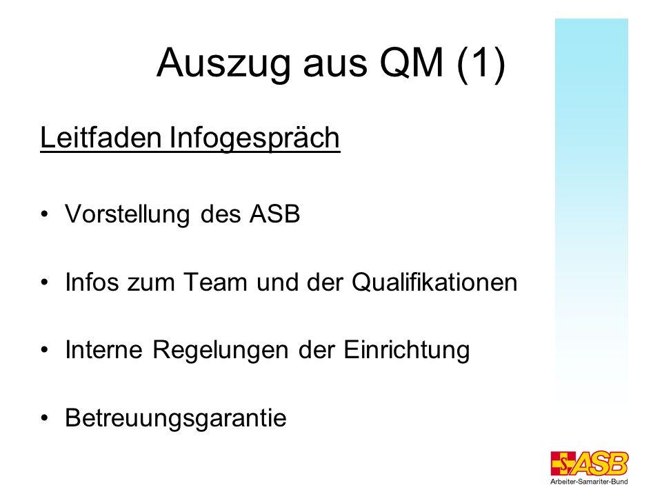 Auszug aus QM (1) Leitfaden Infogespräch Vorstellung des ASB