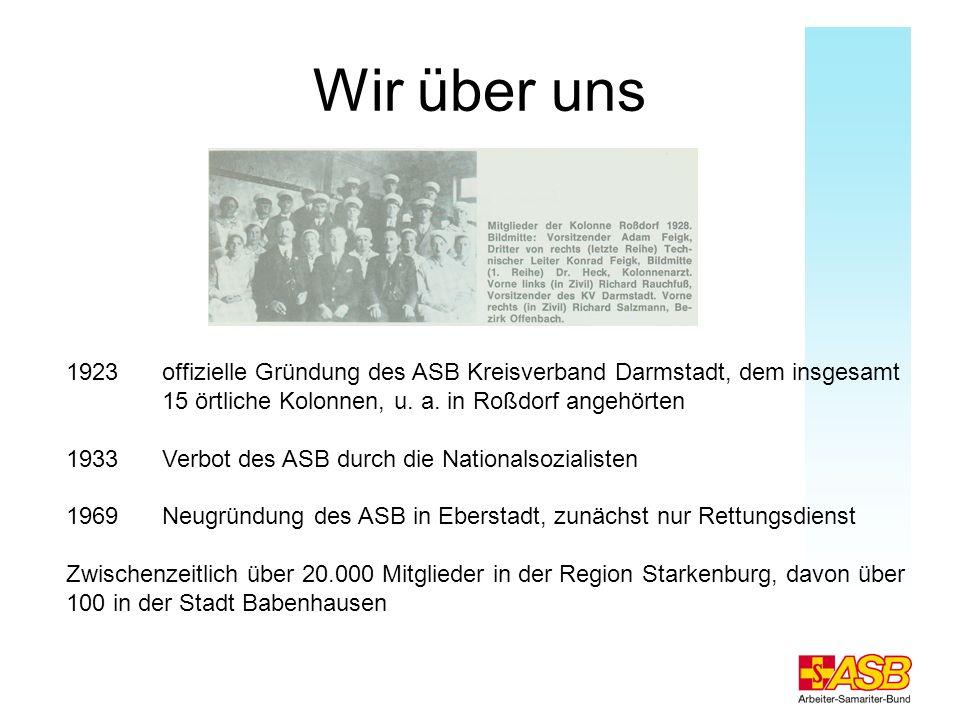Wir über uns 1923 offizielle Gründung des ASB Kreisverband Darmstadt, dem insgesamt 15 örtliche Kolonnen, u. a. in Roßdorf angehörten.