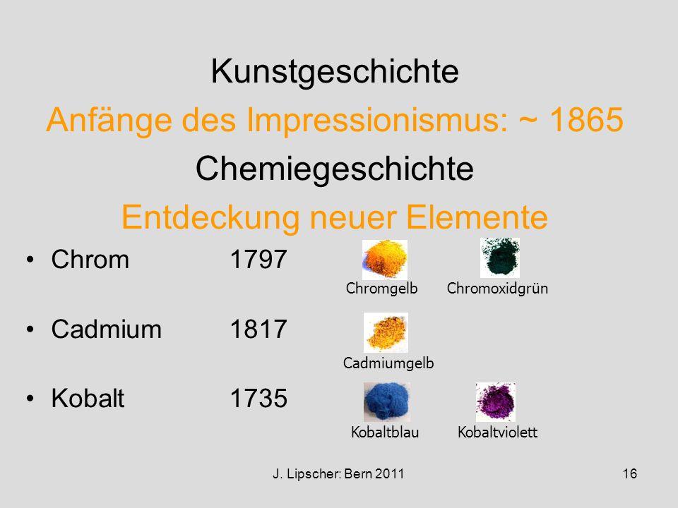 Anfänge des Impressionismus: ~ 1865 Chemiegeschichte