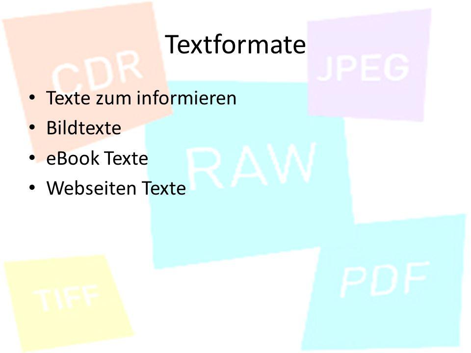 Textformate Texte zum informieren Bildtexte eBook Texte