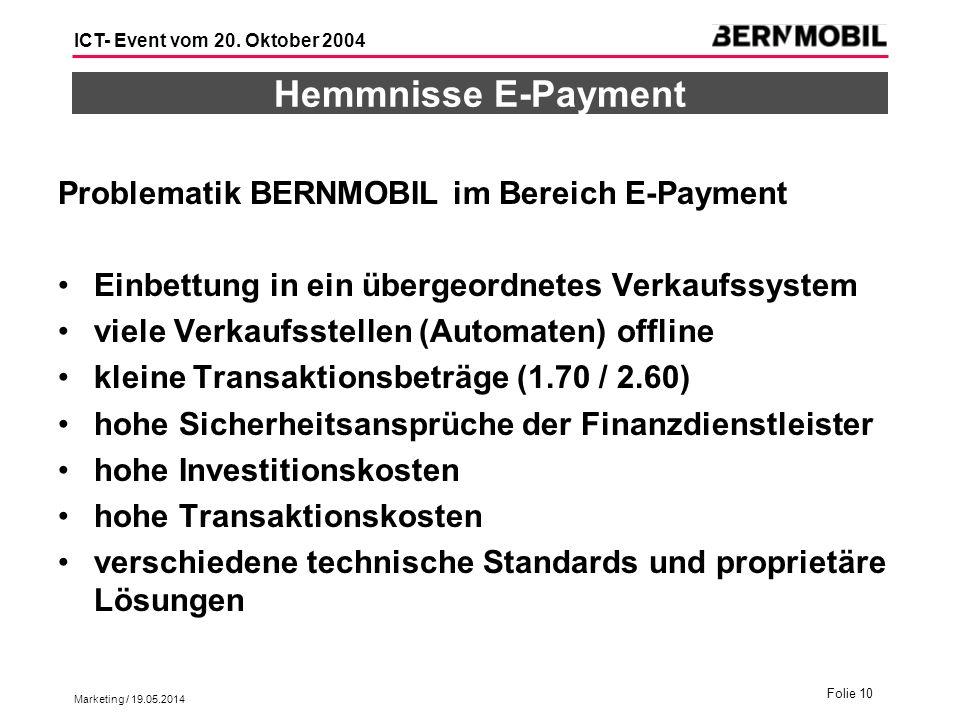 Hemmnisse E-Payment Problematik BERNMOBIL im Bereich E-Payment