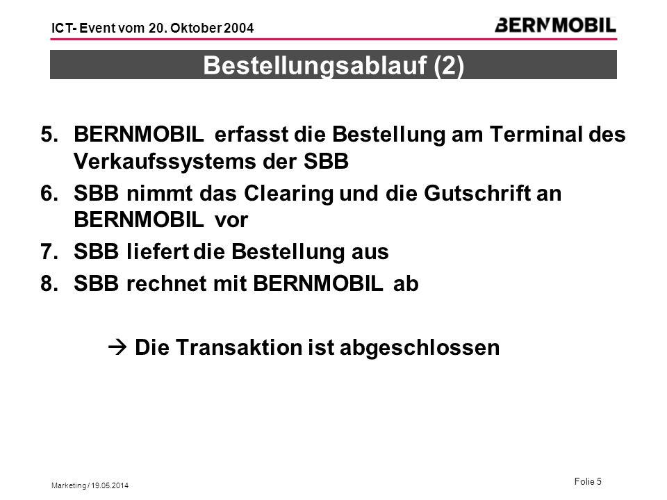 Bestellungsablauf (2) BERNMOBIL erfasst die Bestellung am Terminal des Verkaufssystems der SBB.