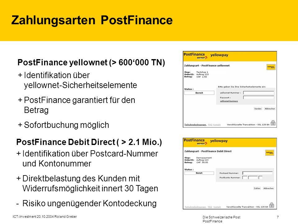 Zahlungsarten PostFinance