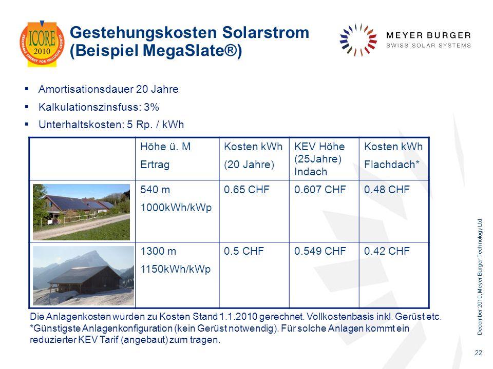 Gestehungskosten Solarstrom (Beispiel MegaSlate®)