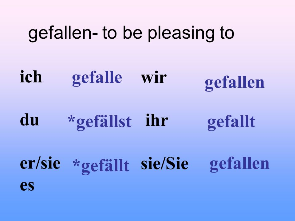 gefallen- to be pleasing to