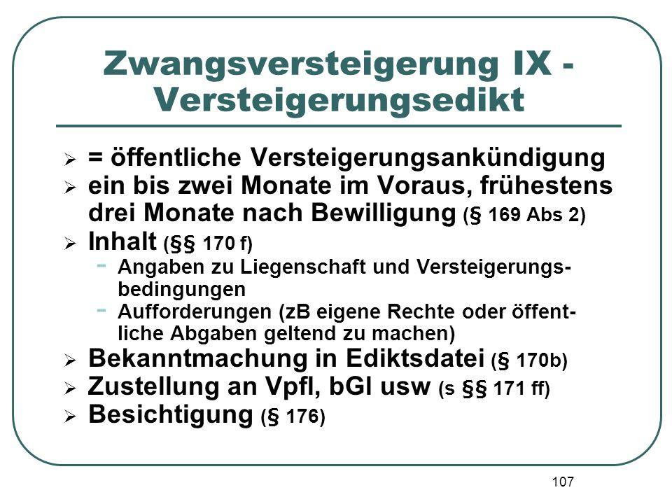 Zwangsversteigerung IX - Versteigerungsedikt