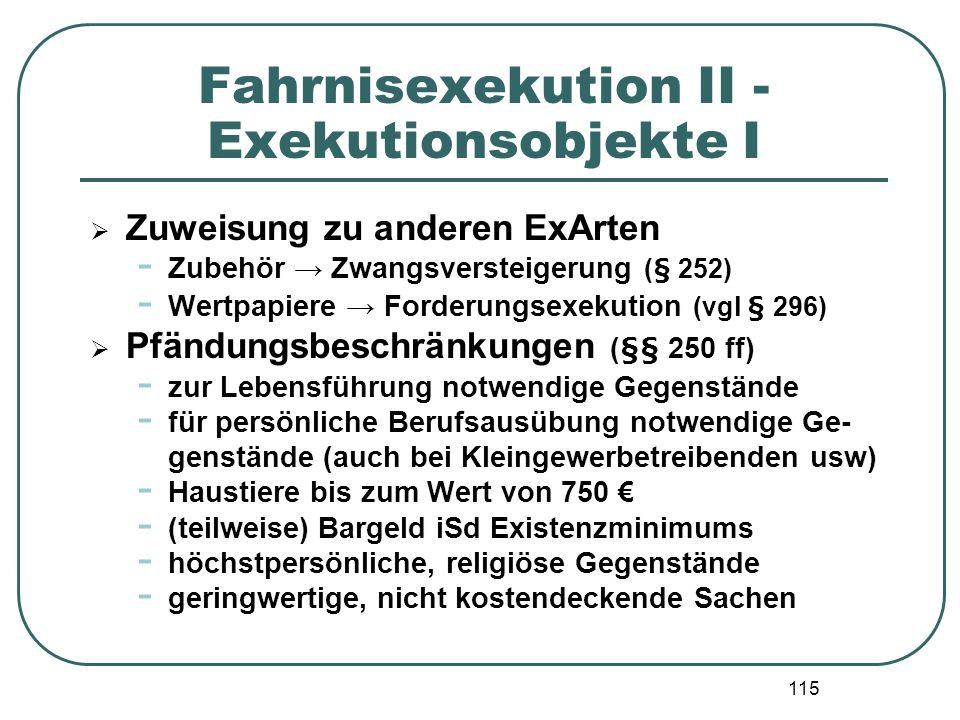 Fahrnisexekution II - Exekutionsobjekte I