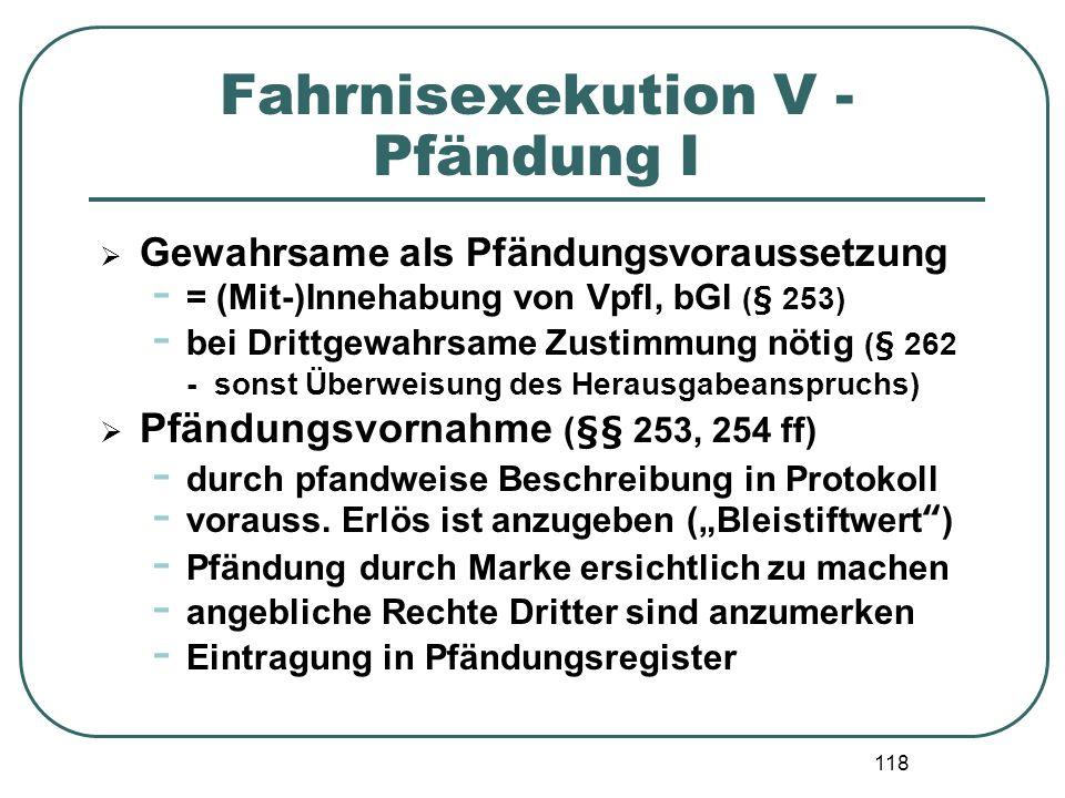 Fahrnisexekution V - Pfändung I