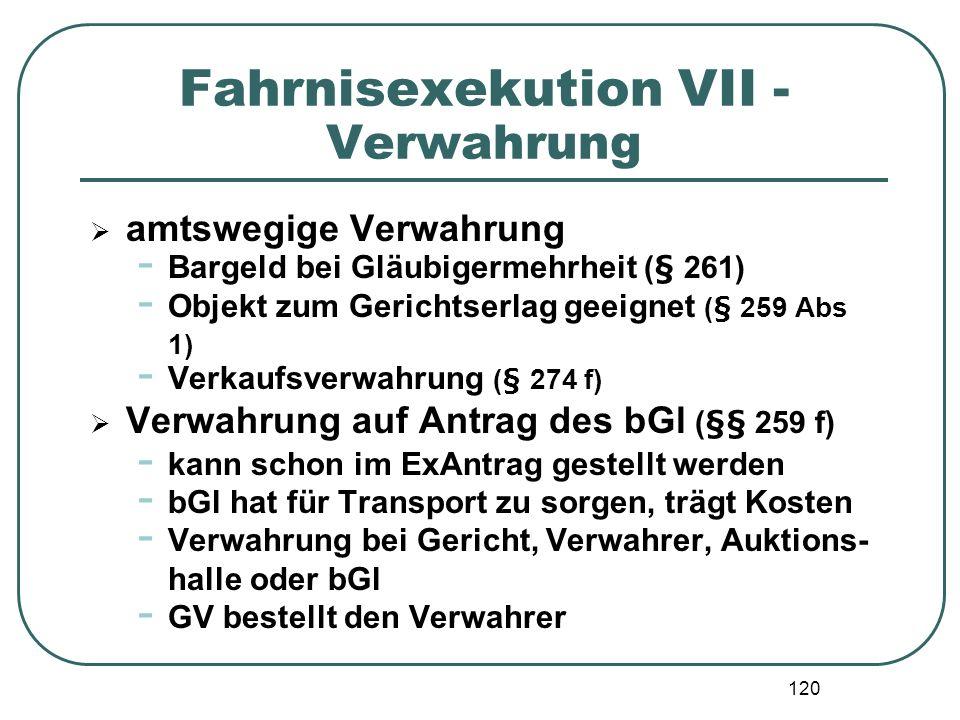 Fahrnisexekution VII - Verwahrung