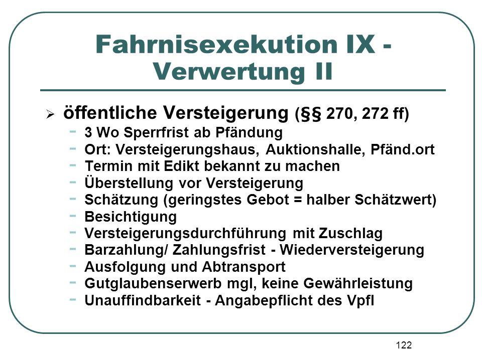 Fahrnisexekution IX - Verwertung II