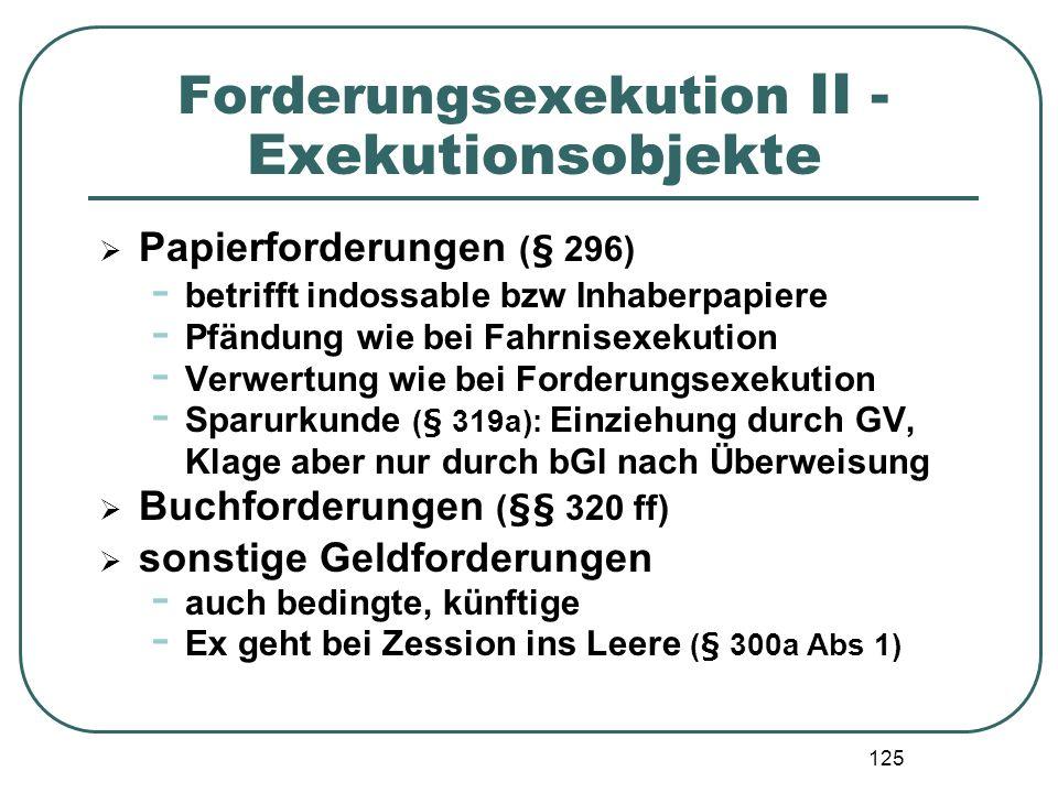 Forderungsexekution II - Exekutionsobjekte