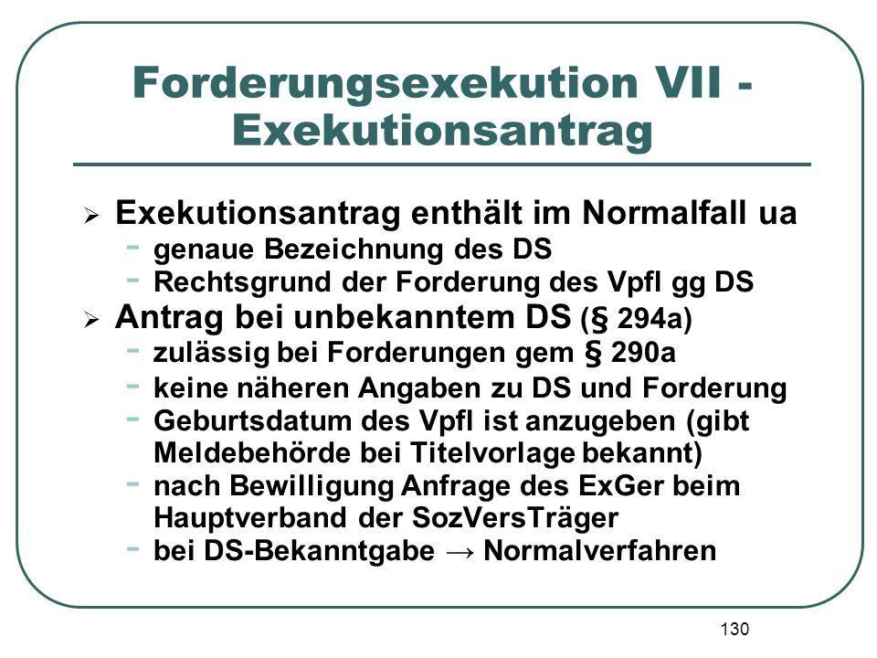 Forderungsexekution VII - Exekutionsantrag
