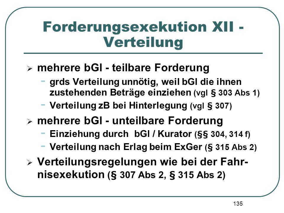 Forderungsexekution XII - Verteilung