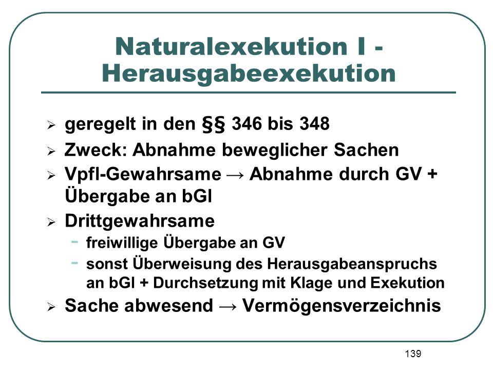 Naturalexekution I - Herausgabeexekution
