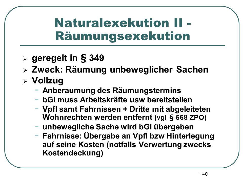 Naturalexekution II - Räumungsexekution
