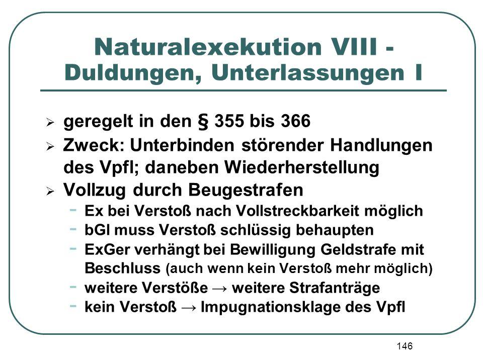 Naturalexekution VIII - Duldungen, Unterlassungen I