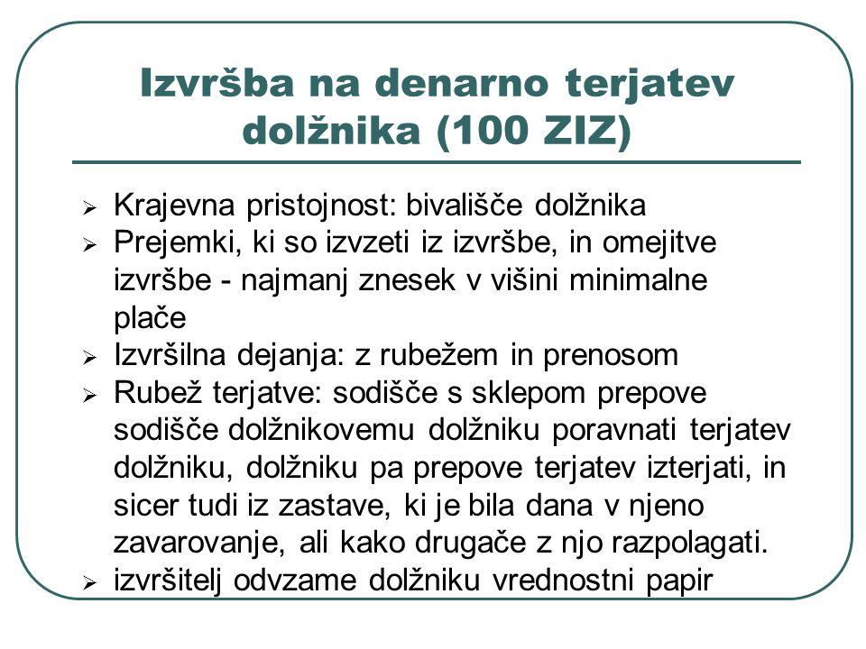 Izvršba na denarno terjatev dolžnika (100 ZIZ)