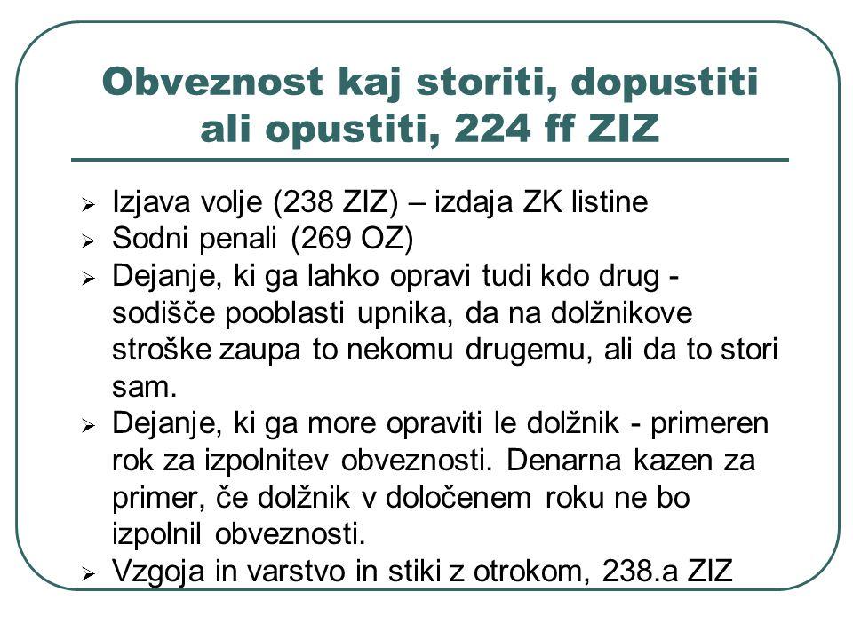 Obveznost kaj storiti, dopustiti ali opustiti, 224 ff ZIZ