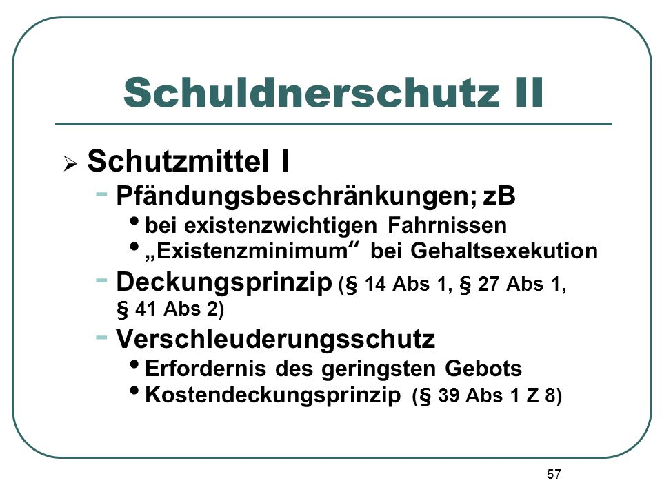 Schuldnerschutz II Schutzmittel I Pfändungsbeschränkungen; zB