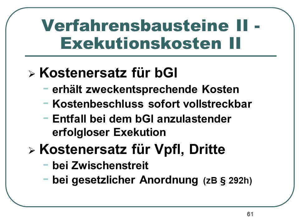 Verfahrensbausteine II - Exekutionskosten II