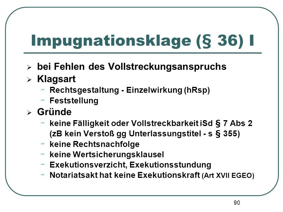 Impugnationsklage (§ 36) I