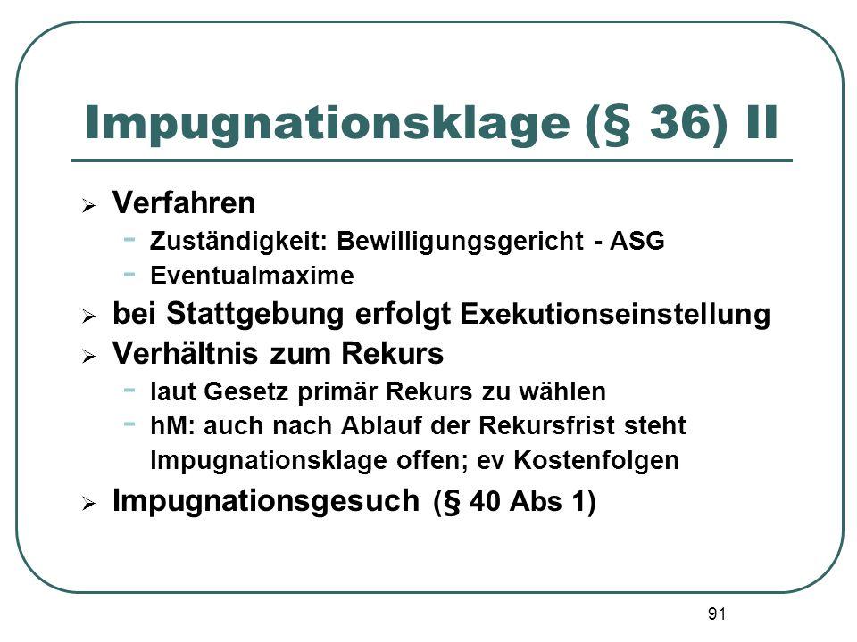 Impugnationsklage (§ 36) II
