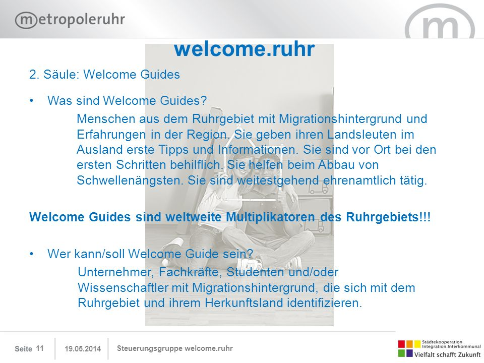 welcome.ruhr 2. Säule: Welcome Guides Was sind Welcome Guides