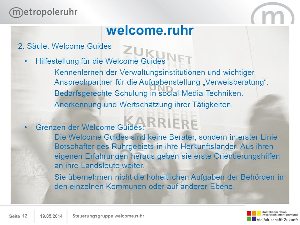 welcome.ruhr 2. Säule: Welcome Guides