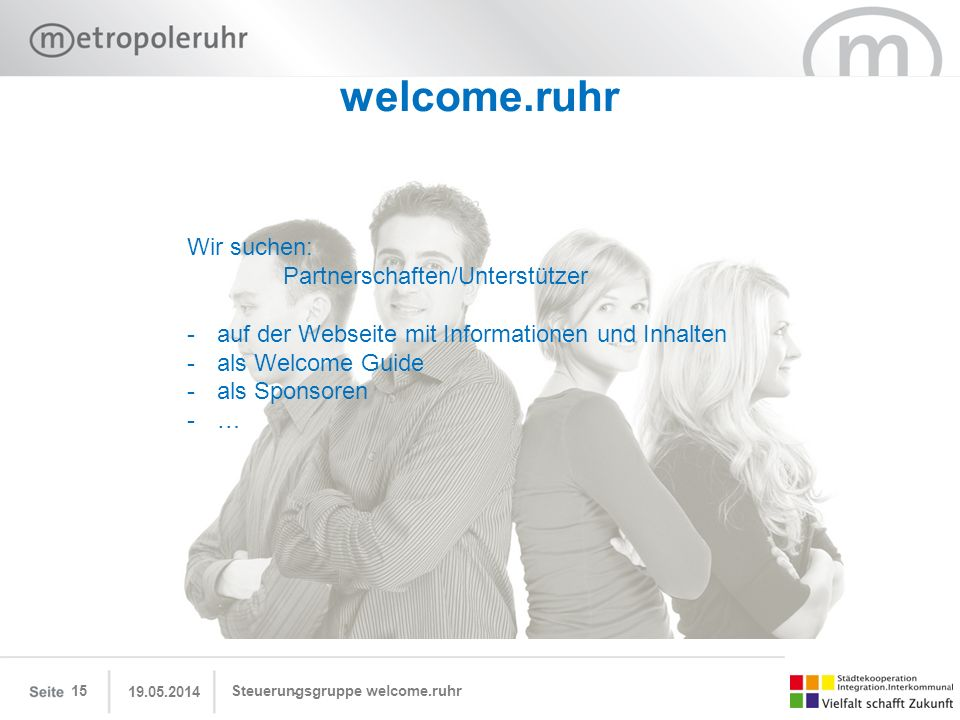 welcome.ruhr Wir suchen: Partnerschaften/Unterstützer