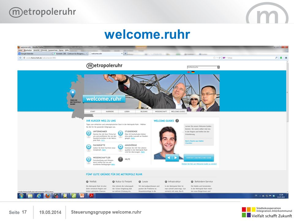 welcome.ruhr 17 17 31.03.2017 31.03.2017 Steuerungsgruppe welcome.ruhr