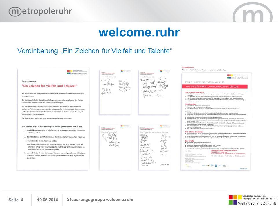 """welcome.ruhr Vereinbarung """"Ein Zeichen für Vielfalt und Talente 3 3"""