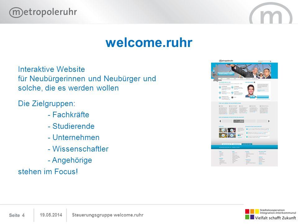 welcome.ruhr Interaktive Website für Neubürgerinnen und Neubürger und solche, die es werden wollen.