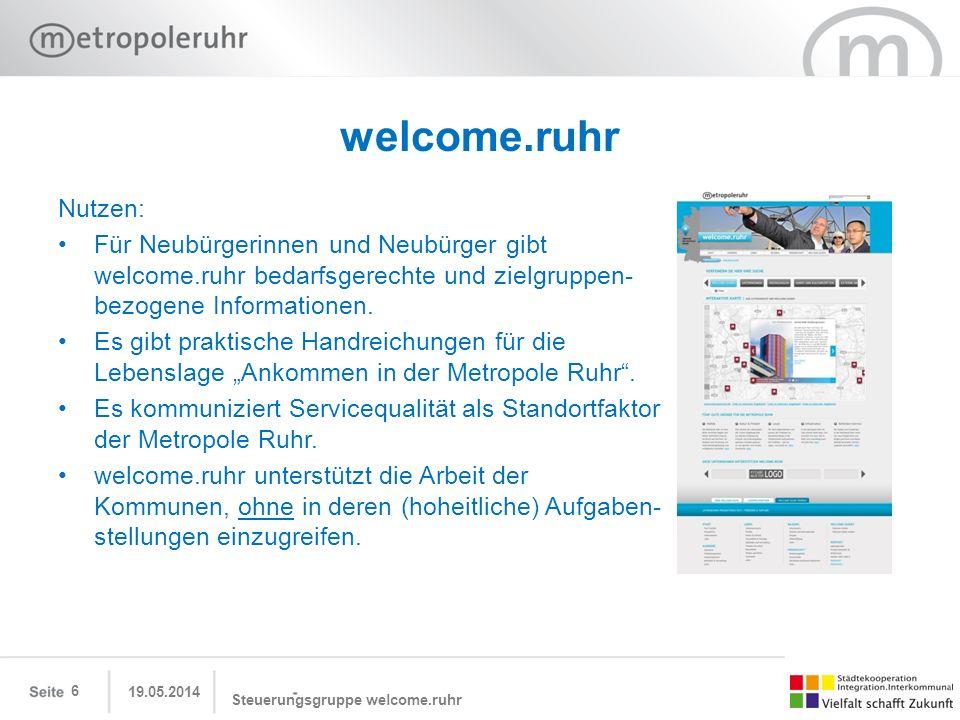 welcome.ruhr Nutzen: Für Neubürgerinnen und Neubürger gibt welcome.ruhr bedarfsgerechte und zielgruppen-bezogene Informationen.