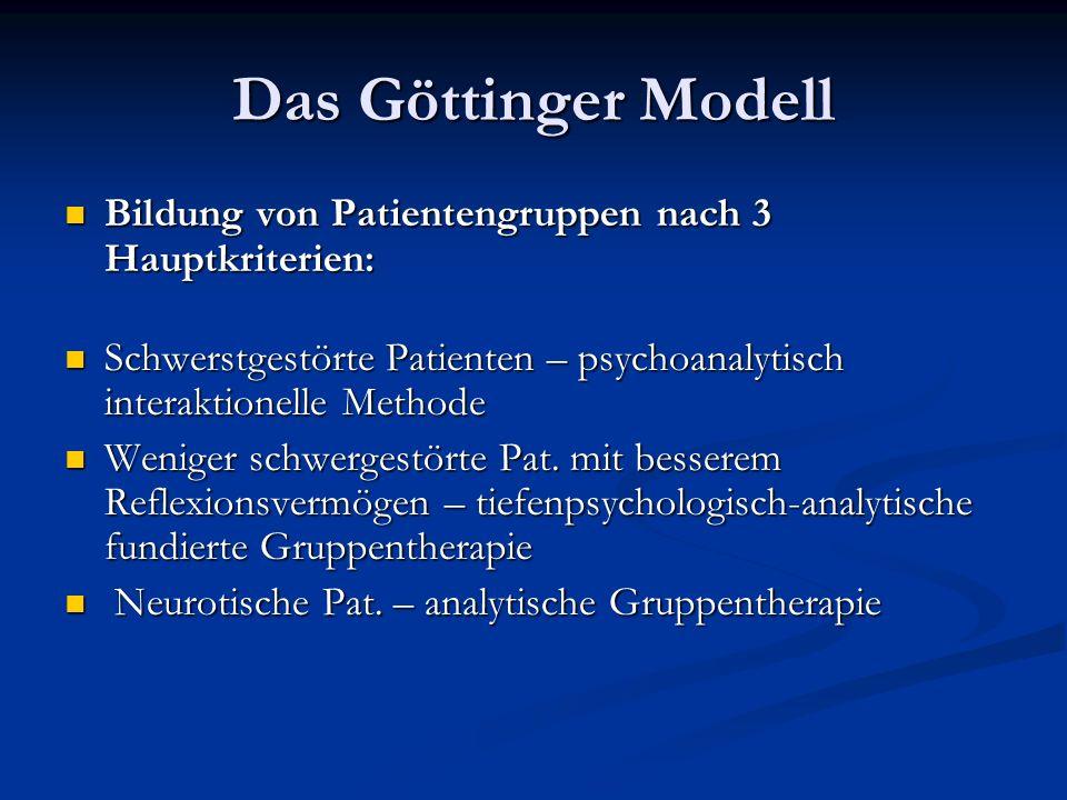 Das Göttinger Modell Bildung von Patientengruppen nach 3 Hauptkriterien: Schwerstgestörte Patienten – psychoanalytisch interaktionelle Methode.