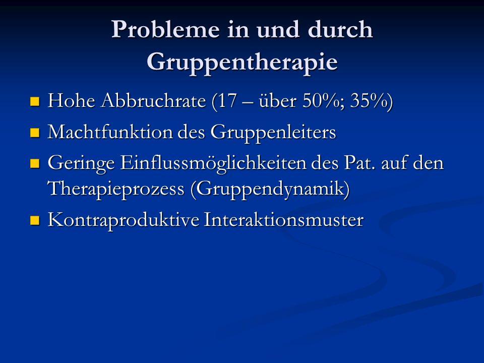 Probleme in und durch Gruppentherapie