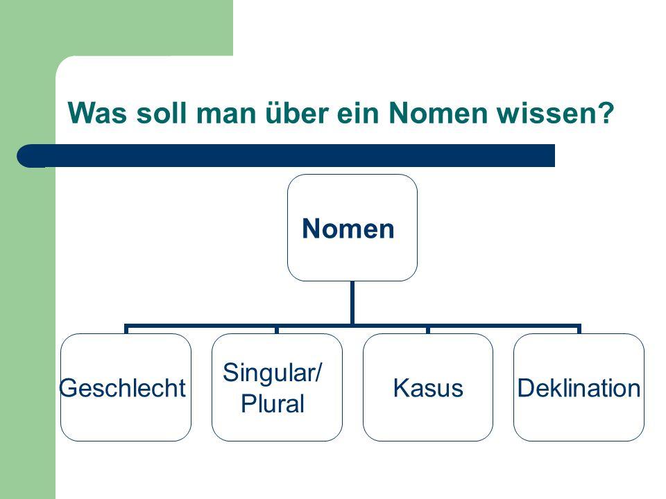 Was soll man über ein Nomen wissen