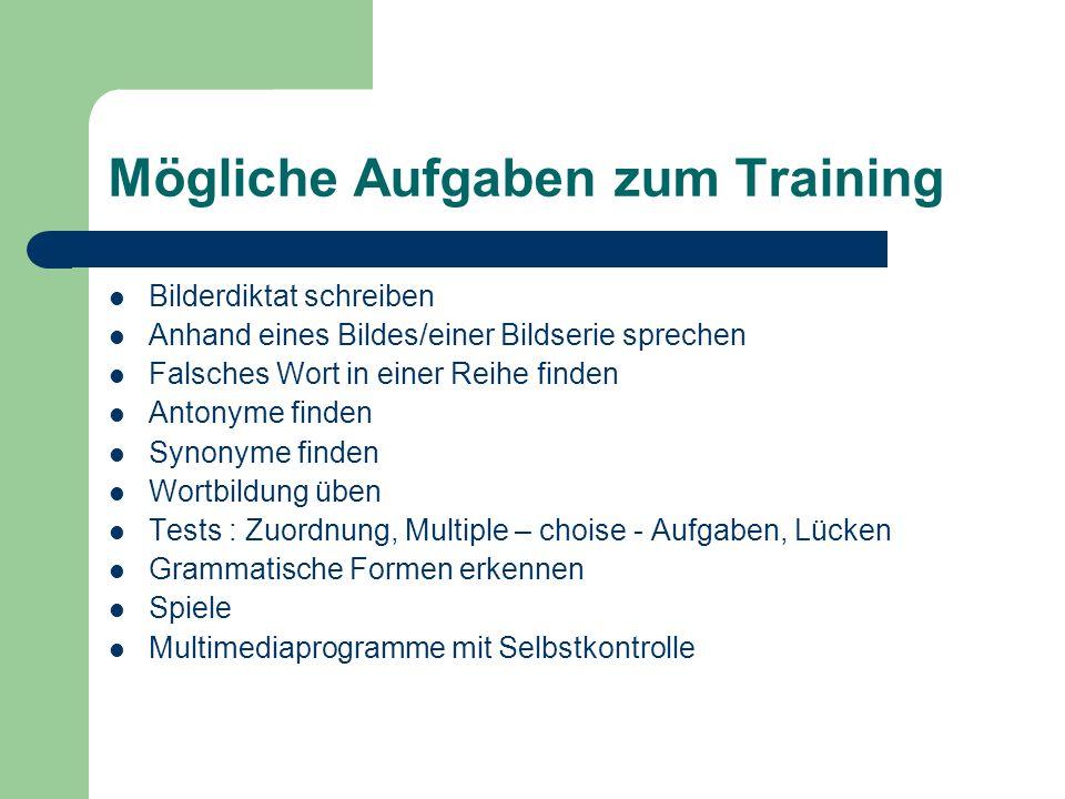 Mögliche Aufgaben zum Training
