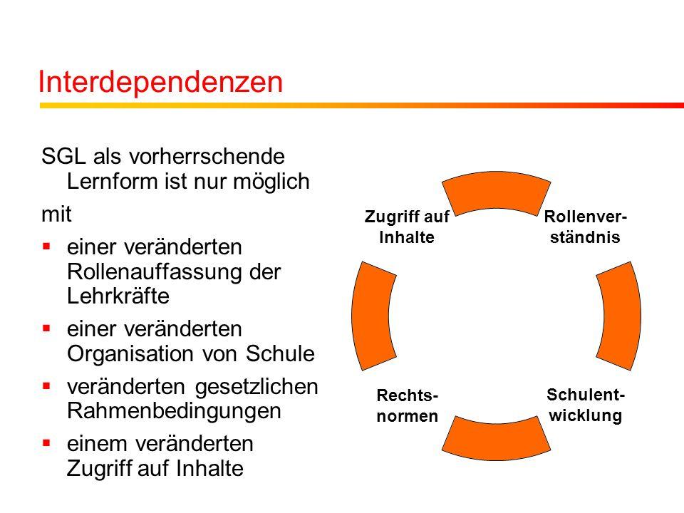 Interdependenzen SGL als vorherrschende Lernform ist nur möglich mit