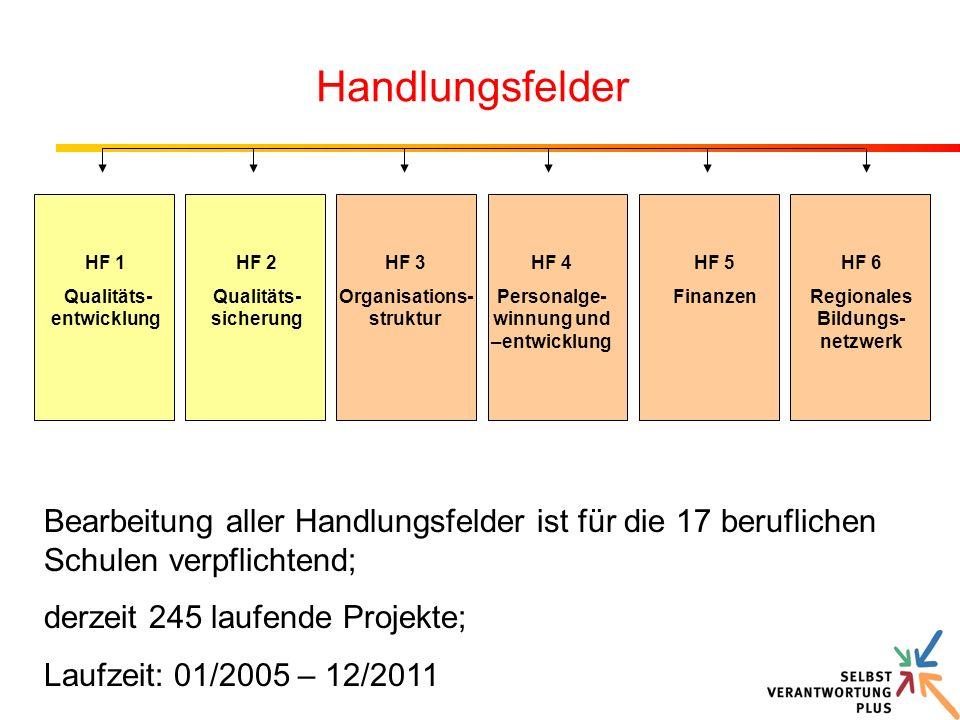 Handlungsfelder HF 1. Qualitäts-entwicklung. HF 2. Qualitäts-sicherung. HF 3. Organisations-struktur.