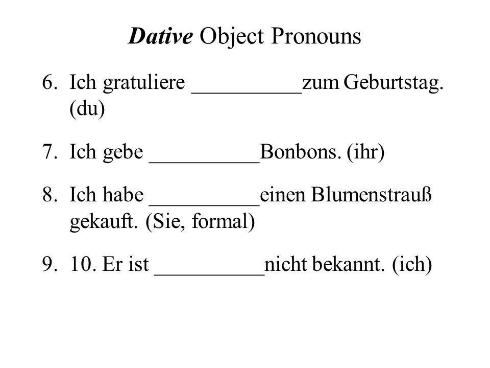 Dative Object Pronouns