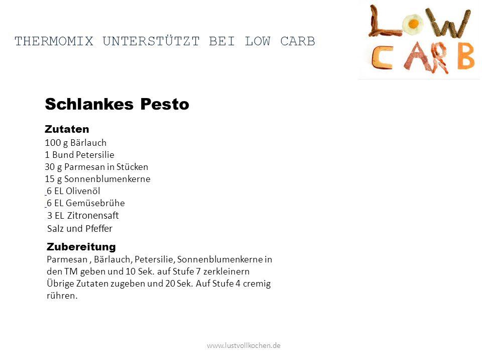 Schlankes Pesto Thermomix unterstützt bei low carb Zutaten