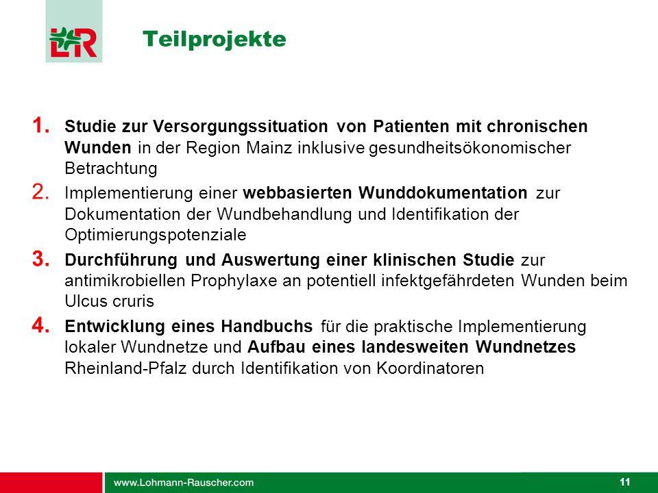 Teilprojekte Studie zur Versorgungssituation von Patienten mit chronischen Wunden in der Region Mainz inklusive gesundheitsökonomischer Betrachtung.