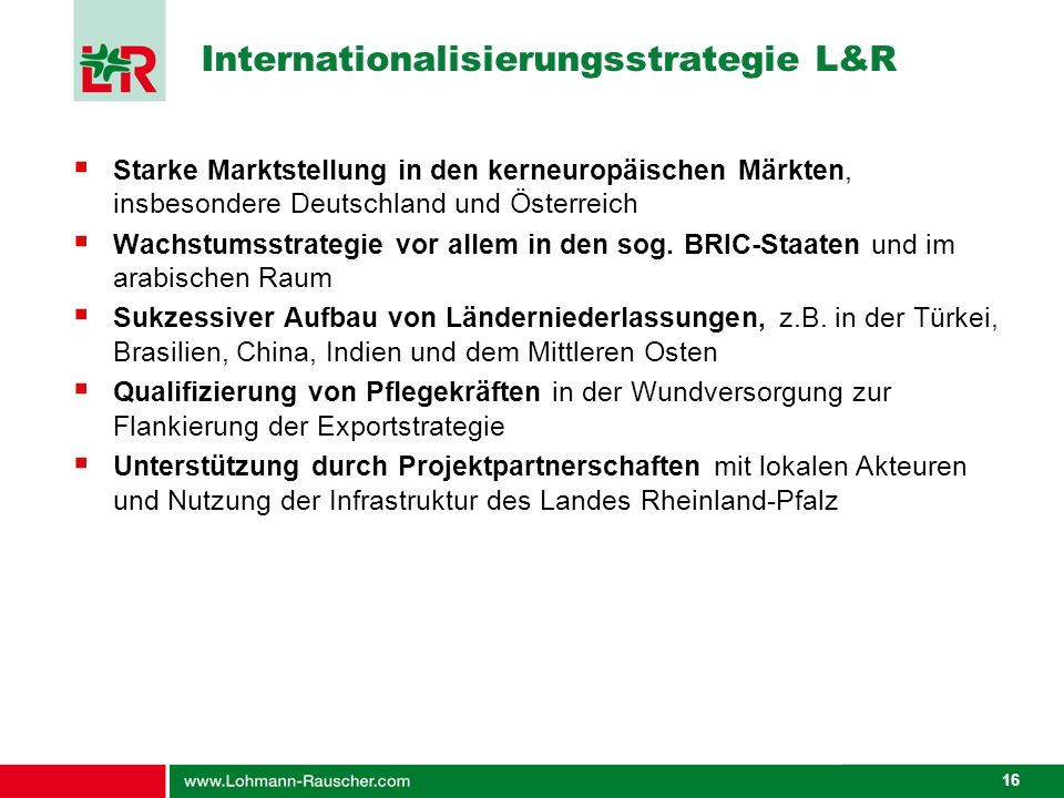 Internationalisierungsstrategie L&R