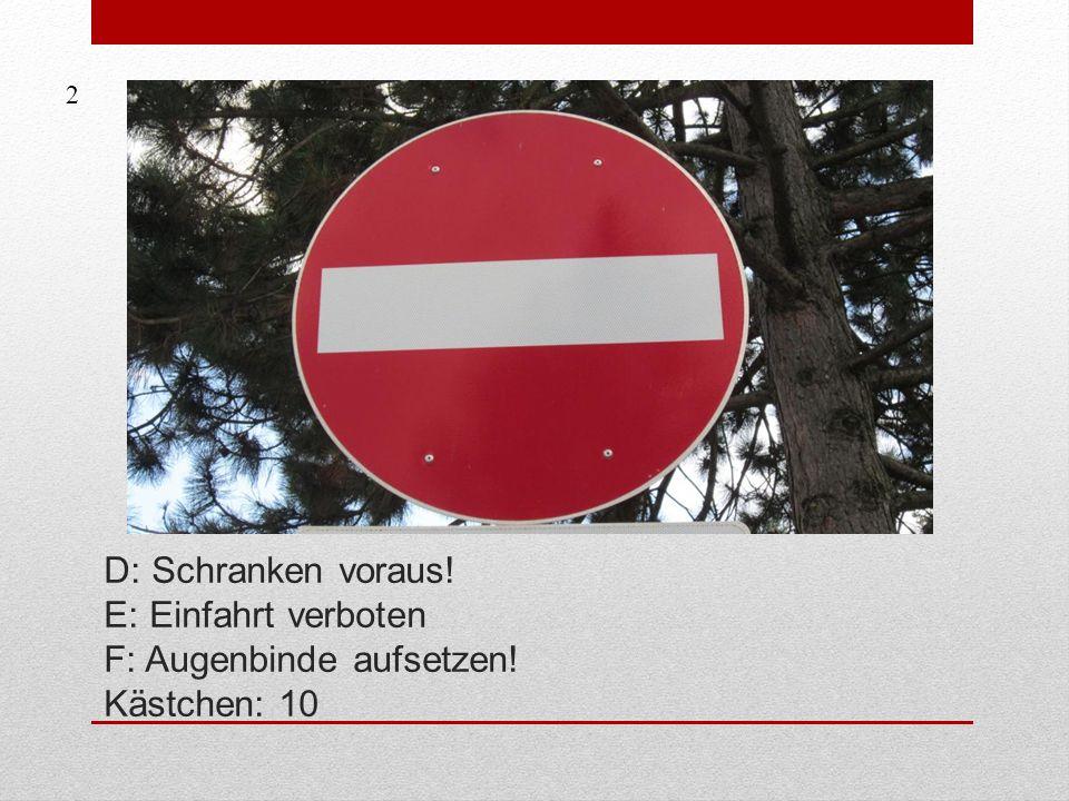 2 D: Schranken voraus! E: Einfahrt verboten F: Augenbinde aufsetzen! Kästchen: 10