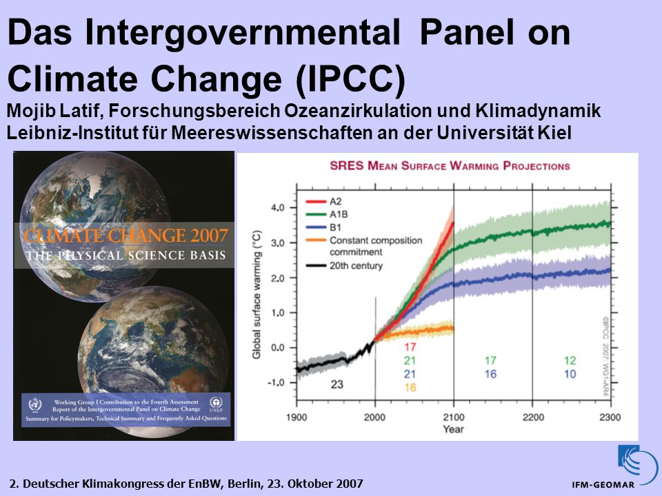 Das Intergovernmental Panel on Climate Change (IPCC) Mojib Latif, Forschungsbereich Ozeanzirkulation und Klimadynamik Leibniz-Institut für Meereswissenschaften an der Universität Kiel
