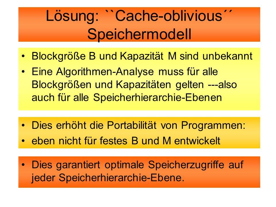 Lösung: ``Cache-oblivious´´ Speichermodell
