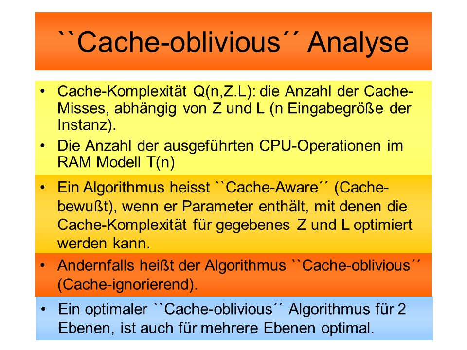 ``Cache-oblivious´´ Analyse